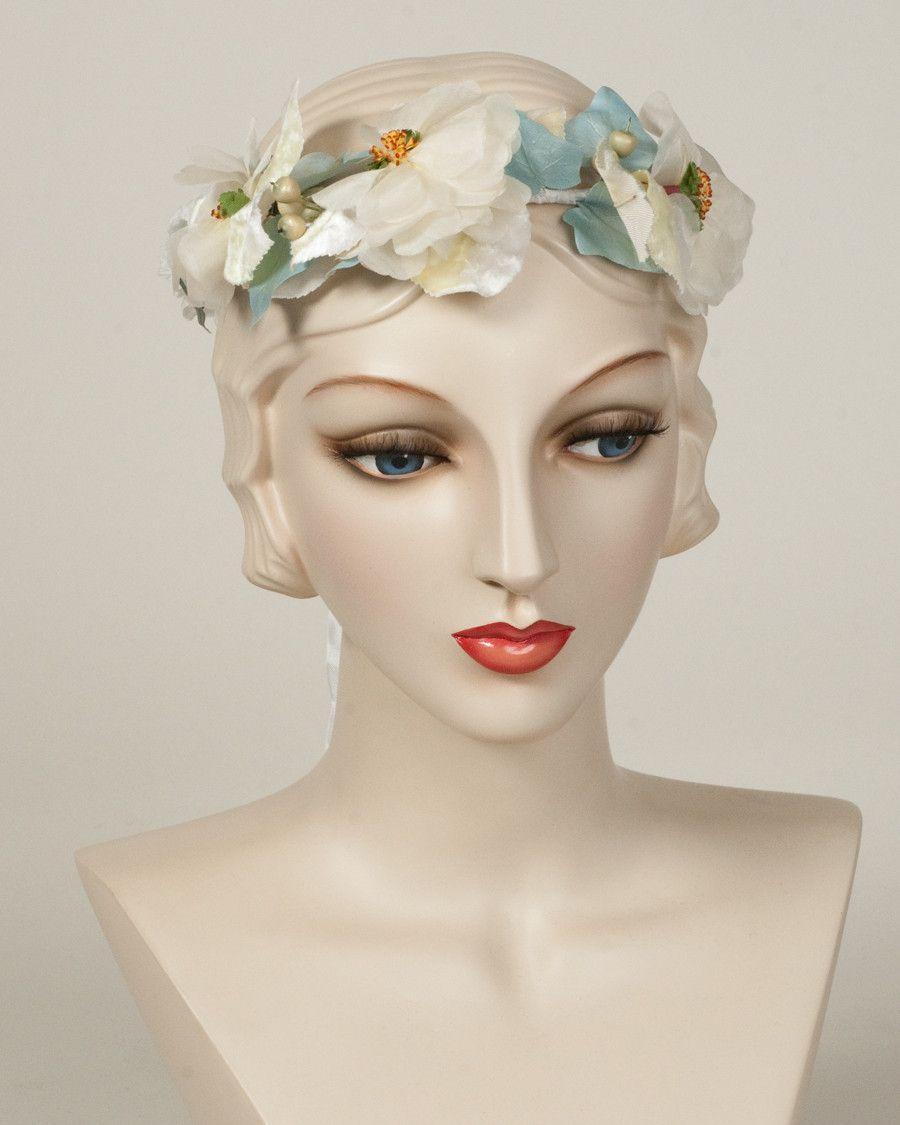 9328FW Flower Wreath, denim Louise Green Millinery