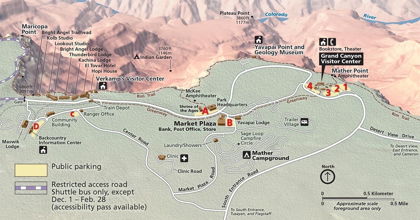 Grand Canyon village parking map shows parking lots 1-4 and A-D ...