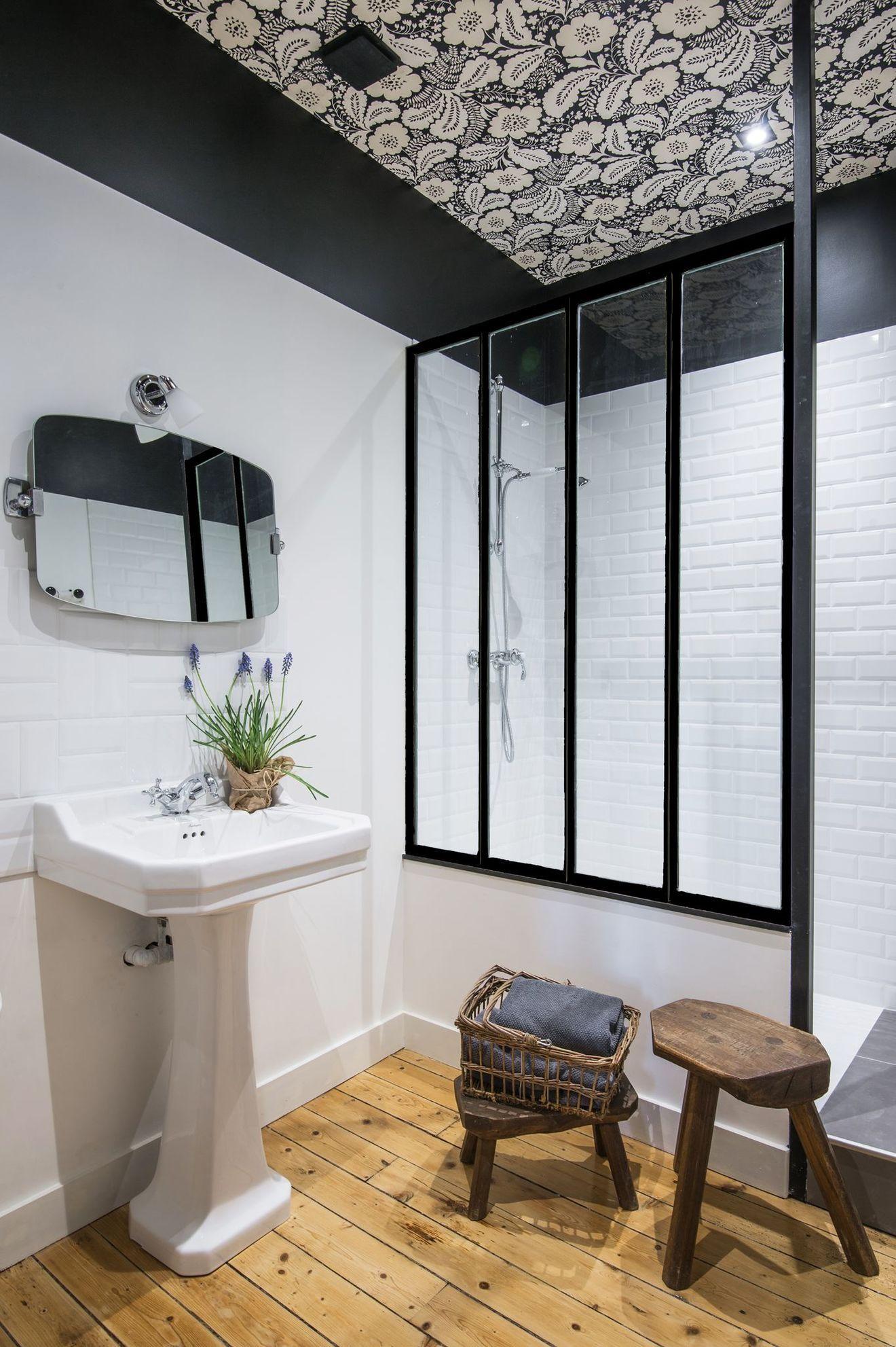 Salle de bains avec verri re inspiration d co par c t maison pinterest salle salle de - Salle de bain pinterest ...