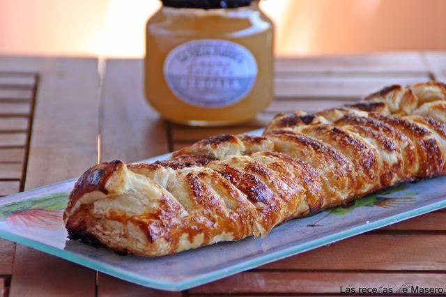 Trenza de hojaldre caramelizada de membrillo, queso de cabra y cebolla endulzada. - myTaste.es