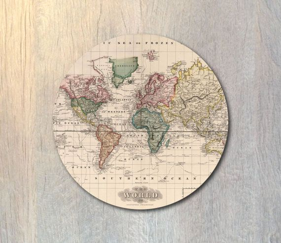 Hey i found this really awesome etsy listing at httpsetsy vintage world map mouse pad travel computer or office work station decor gumiabroncs Gallery