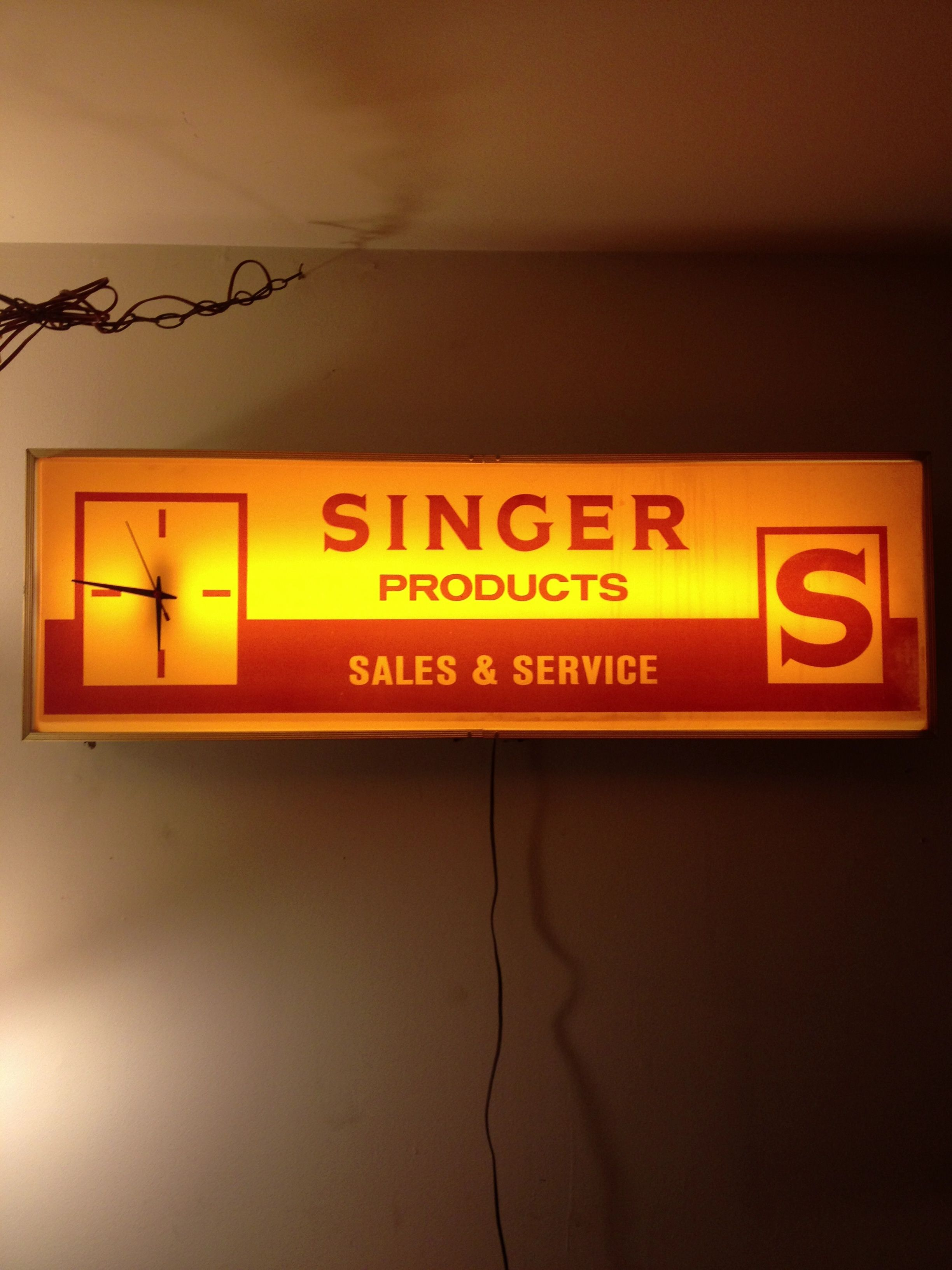 Singer advertising sign for above my sewing table.