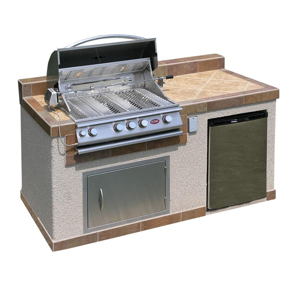 Cal Flame Oudoor Kitchen 4 Burner Barbecue Grill Island With Refrigerator E6004 The Home Depot Outdoor Kitchen Island Grill Island Outdoor Kitchen Design
