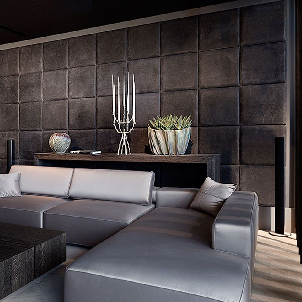 Recubrimiento para pared de piel en forma de cuadros http - Recubrimientos para paredes ...