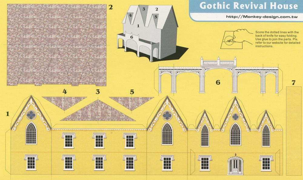 Gothic Revival House Cut Out Postcard By Shook Photos