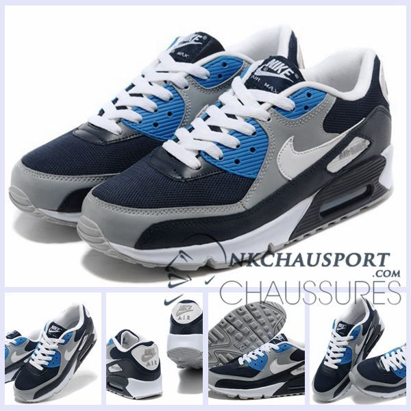 timeless design 669a2 0bdec Nike Air Max 90   Meilleur Chaussures Running Homme Blanche Bleu  Profond Casa