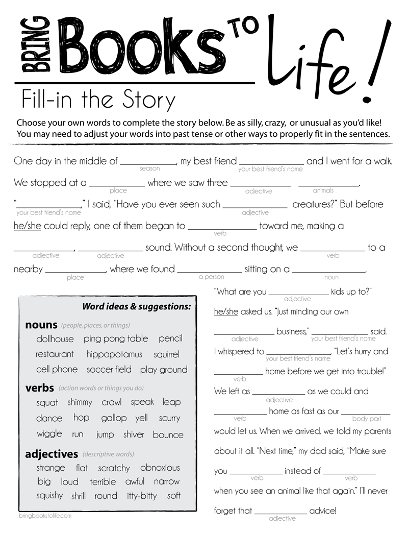 mad libs for kids Google Search – Mad Lib Worksheets