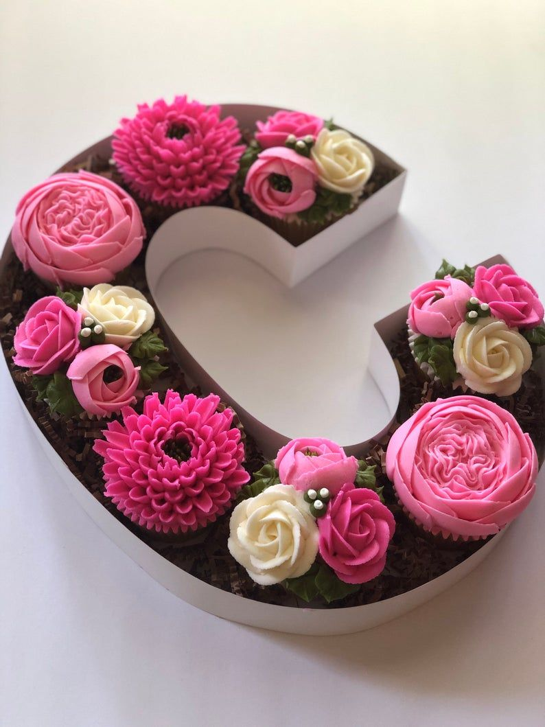 Letter Shaped Fillable Box Etsy Cake Lettering Monogram Cupcakes Cupcake Bouquet Tutorial
