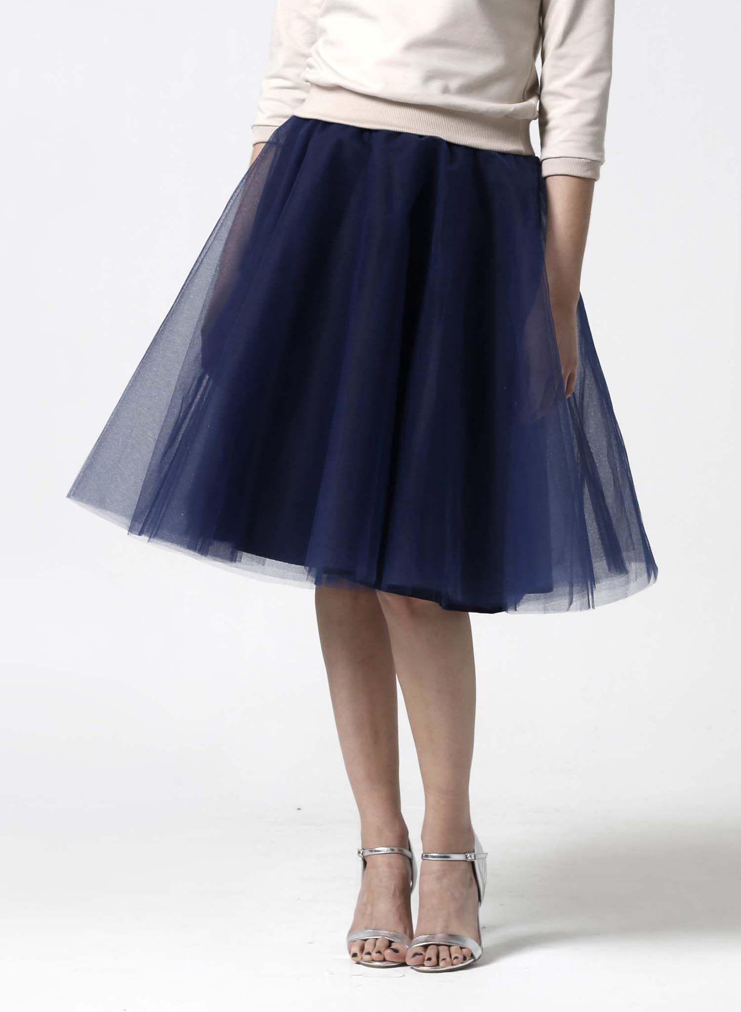 1cc73d838d03 Tylová sukňa Midi tmavo modrá.