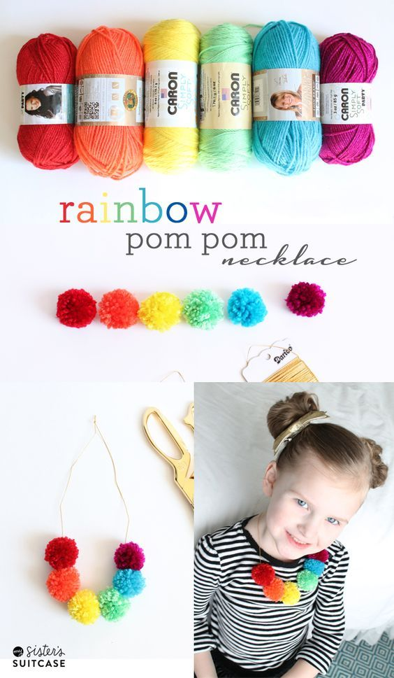 Ideas : Rainbow pom pom necklace!  Perfect for St Patrick's Day or any day really!  My Sister's Suitcase #diy #stpatricksday