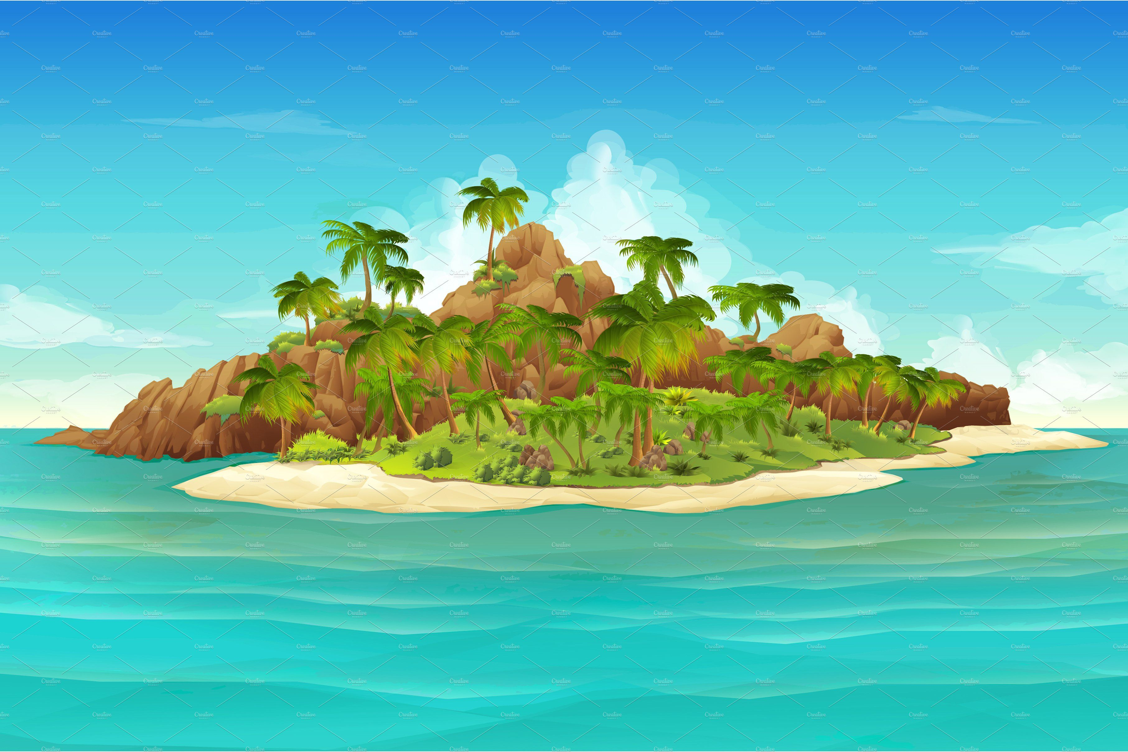 Tropical Island, Beach, Vector