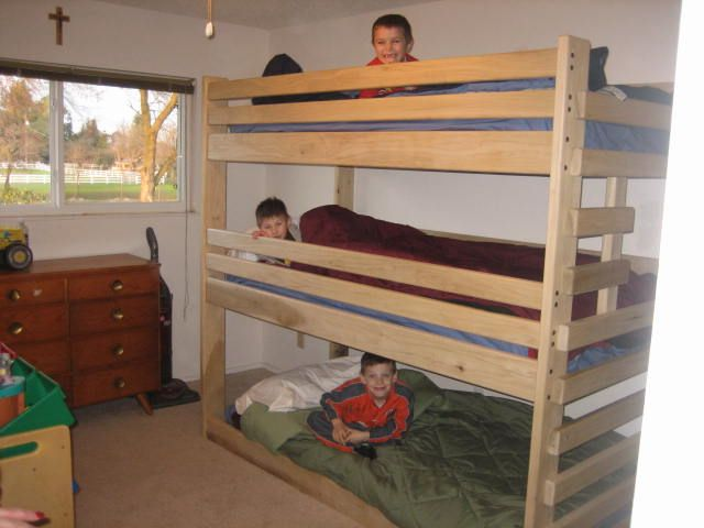 free shipping triple bunk bed built using plans from bunk beds unlimited bed built by one of. Black Bedroom Furniture Sets. Home Design Ideas