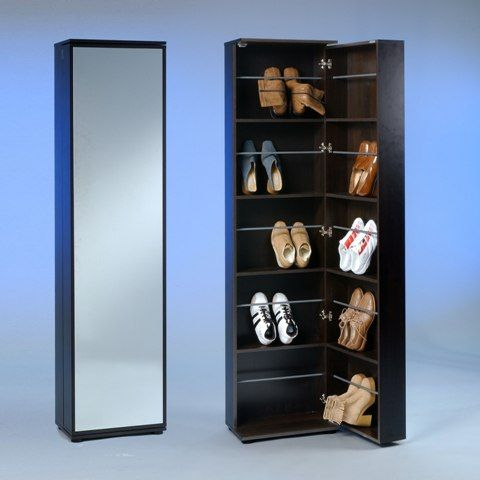 Wooden Shoe Cupboard With Full Mirror In Mocha Shoe