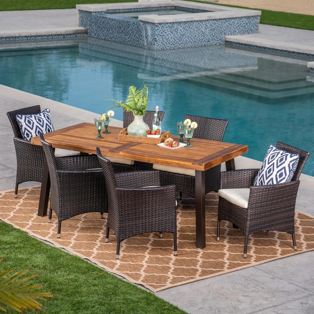 Noble House Catriona Teak 3 Piece Wood Rectangular Outdoor Dining Set Outdoor Dining Set Outdoor Furniture Sets Dining Set