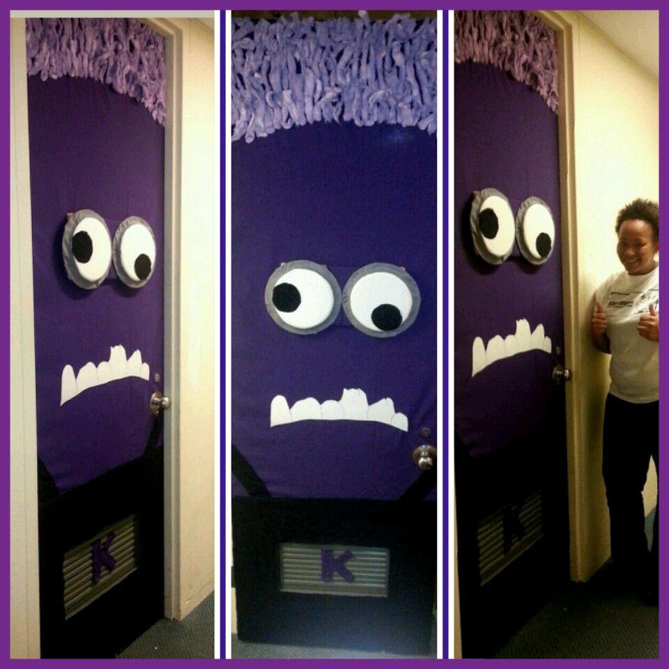 Purple minion door decoration brielleus th bday pinterest