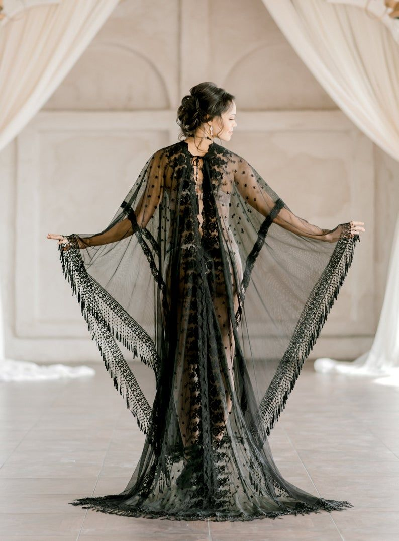 Photo of BLACK LACE KAFTAN for Wedding Day Boudoir caftan, Sexy Sheer Honeymoon Lingerie, Custom handmade Bridal Caftan, Sexy Shower Gift for Bride