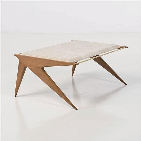 Luigi Paolozzi, marble, brass and wood modern coffee table - by Piasa