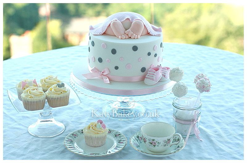 Baby shower afternoon tea with cake cake pops and cupcakes