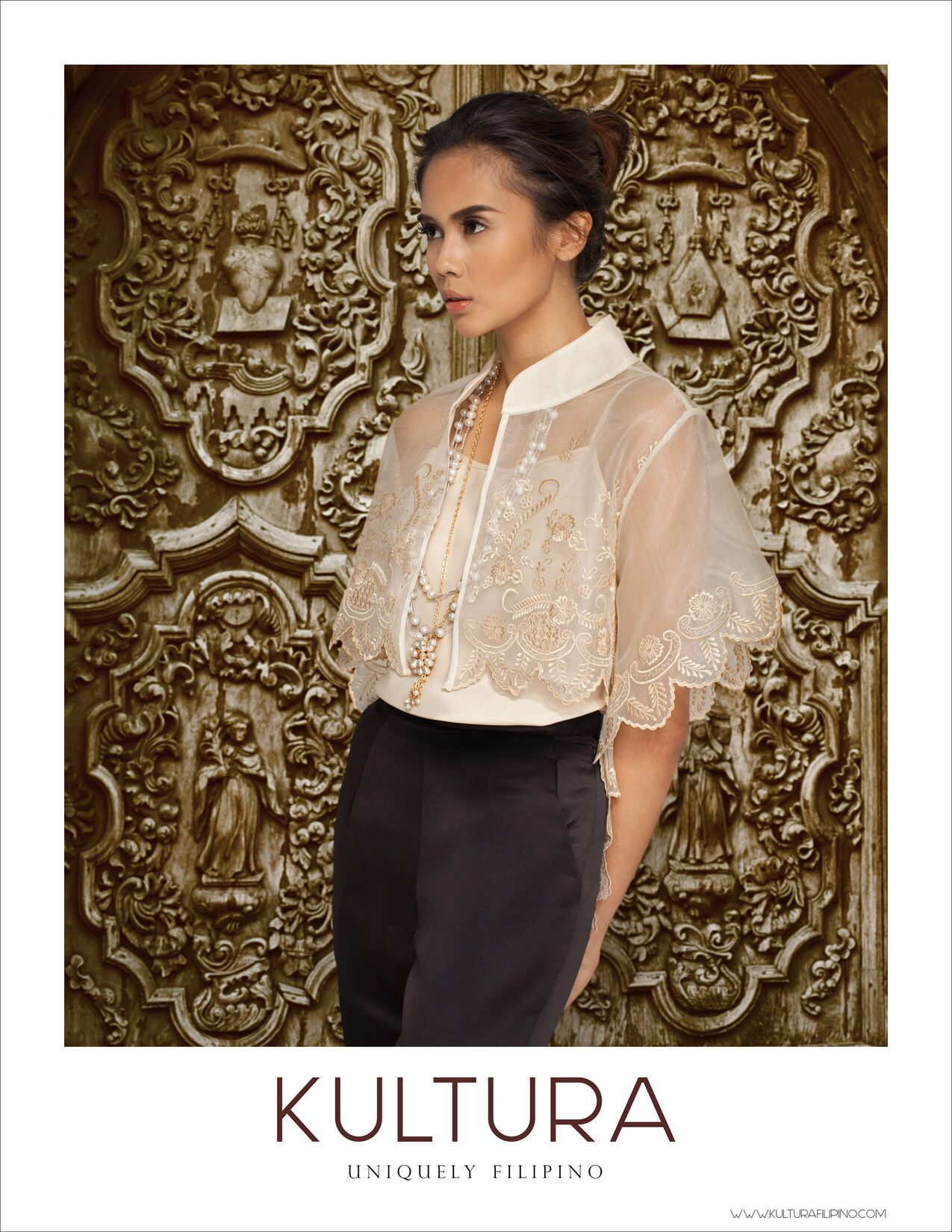 Modern Filipino Wedding Dresses : Embroidered capelet and pearls filipiniana