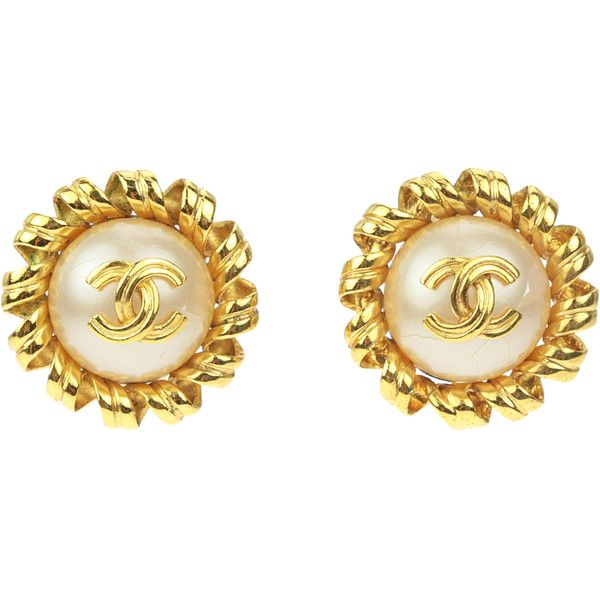 Pre Owned Chanel Vintage Gold Faux Pearl Cc Clip On Earrings 395 Liked Polyvore Featuring Jewelry Fake