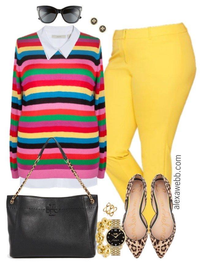 Plus Size Yellow Pants Work Outfits - Alexa Webb 3