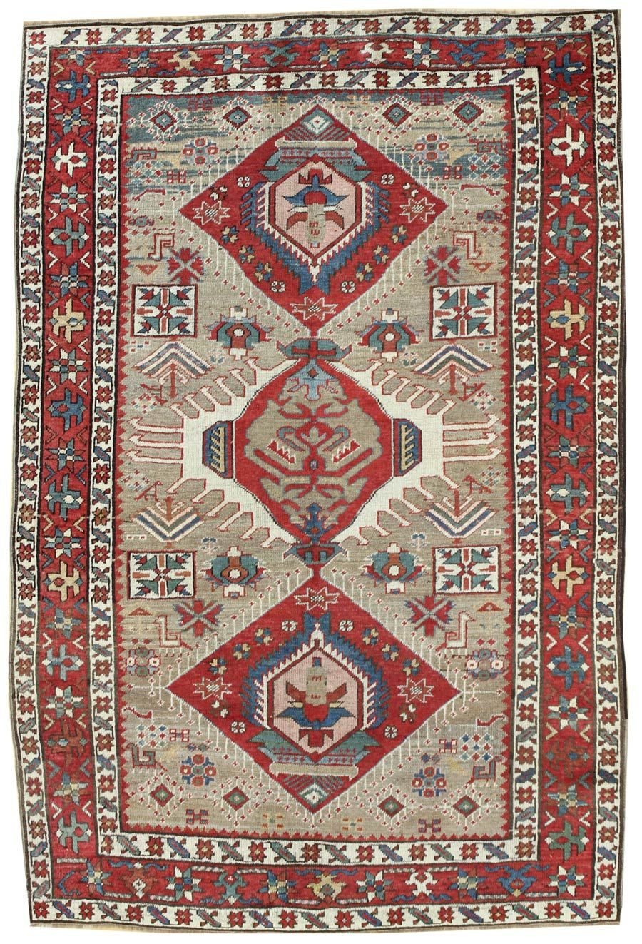 """Antique Karabagh Rug ID: JF5234. Hand-knotted in the Caucasus.  Circa 1910.  4'5"""" x 6'3"""".  $5,800 retail/ $4,640 net.  Rug is in the Boston showroom."""