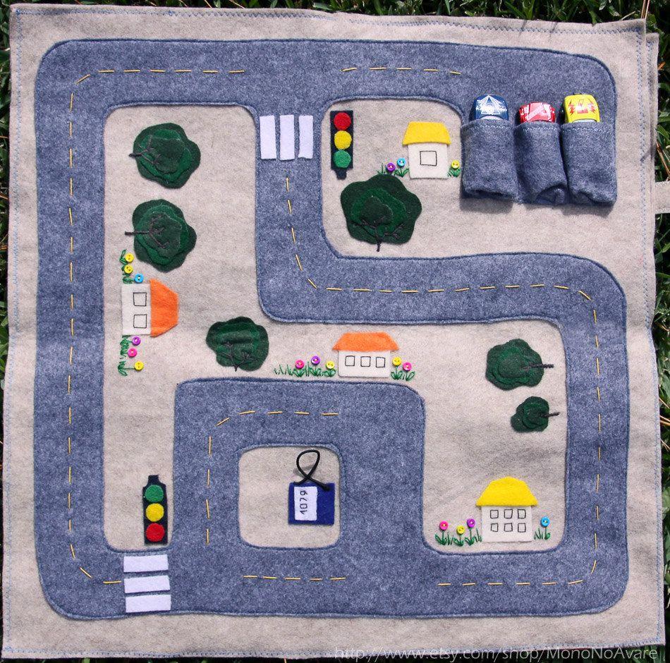 Felt car play mat Kids road map play mat Track for boy Toy