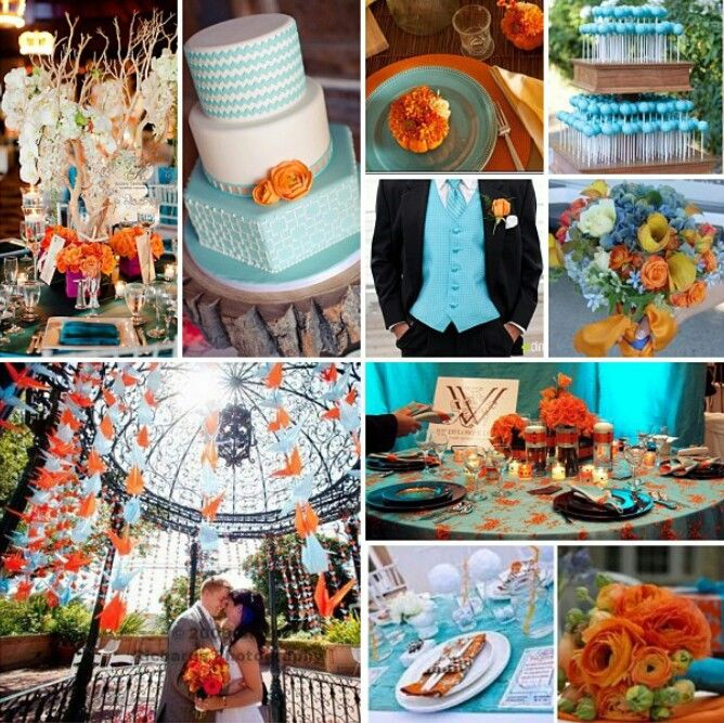Orange And Baby Blue Wedding Theme