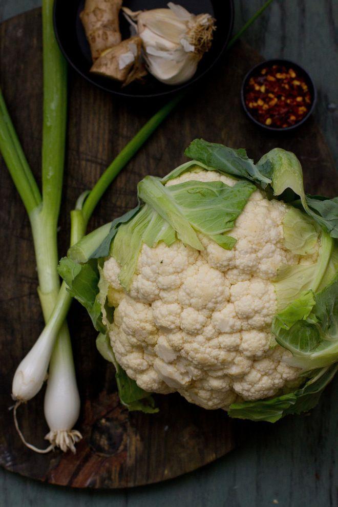 Gobi (Cauliflower) and spring onions via Sinfully Spicy