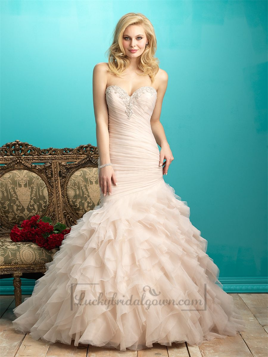 Ruffled Pleated Bodice Beaded Sweetheart Wedding Dress with Layers ...