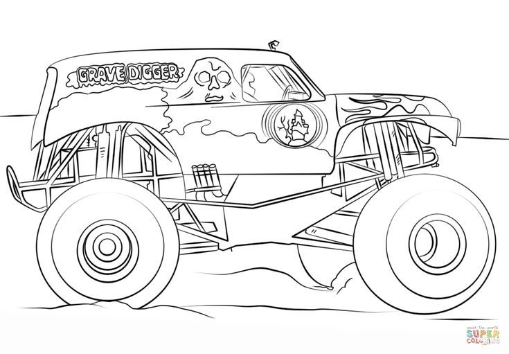 Grave Digger Monster Truck Coloring Page Free Printable Coloring Pages Monster Truck Coloring Pages Truck Coloring Pages Monster Truck Birthday
