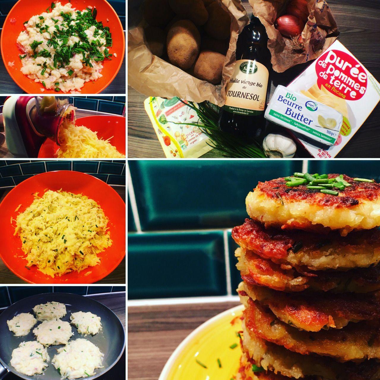 Les galettes de pommes de terre vegan par Veggiesbourg : Ingrédients : - pommes de terres - échalotes - ail - poudre de purée de pommes de terre pour remplacer les œufs - huile de tournesol -...