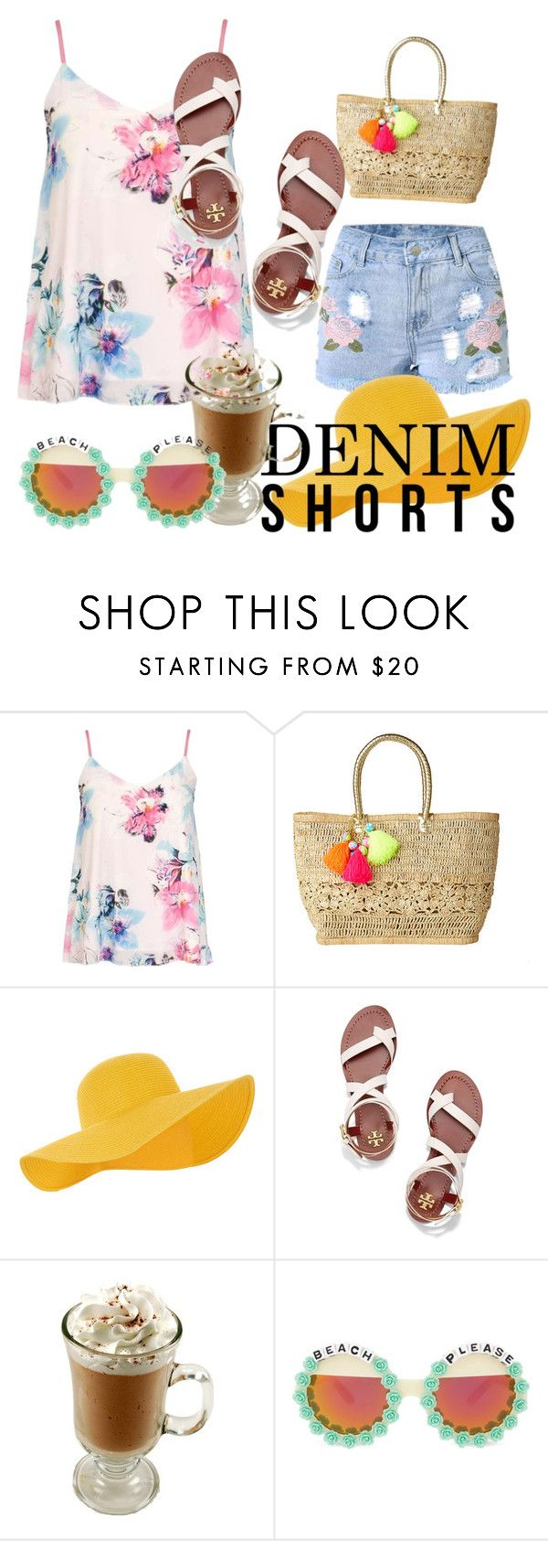 """""""Denim shorts"""" by veronika-andrianova ❤ liked on Polyvore featuring Dorothy Perkins, Lilly Pulitzer, Accessorize, Tory Burch, Rad+Refined, jeanshorts, denimshorts and cutoffs"""