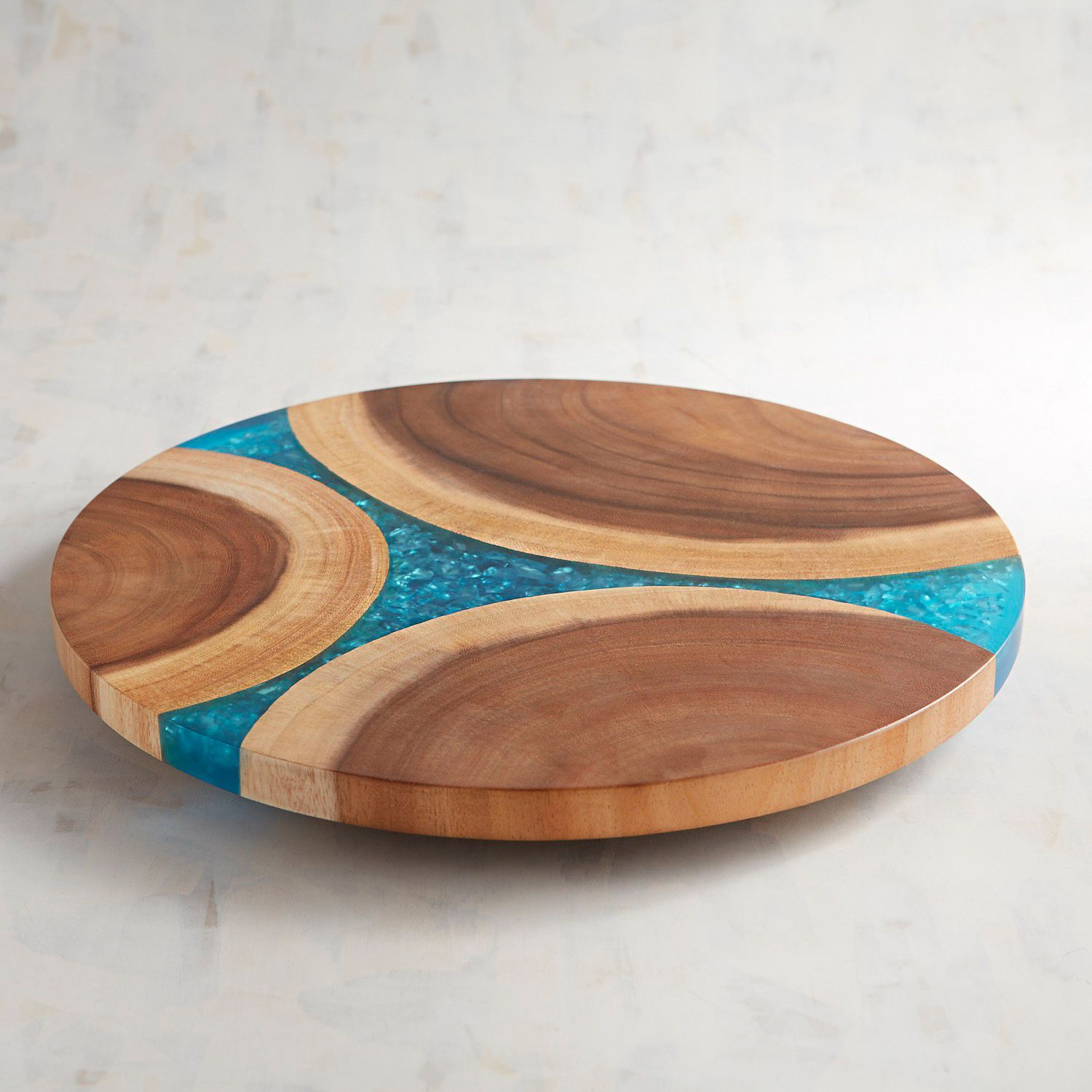 Wooden Turquoise Resin Lazy Susan Easy Woodworking Projects