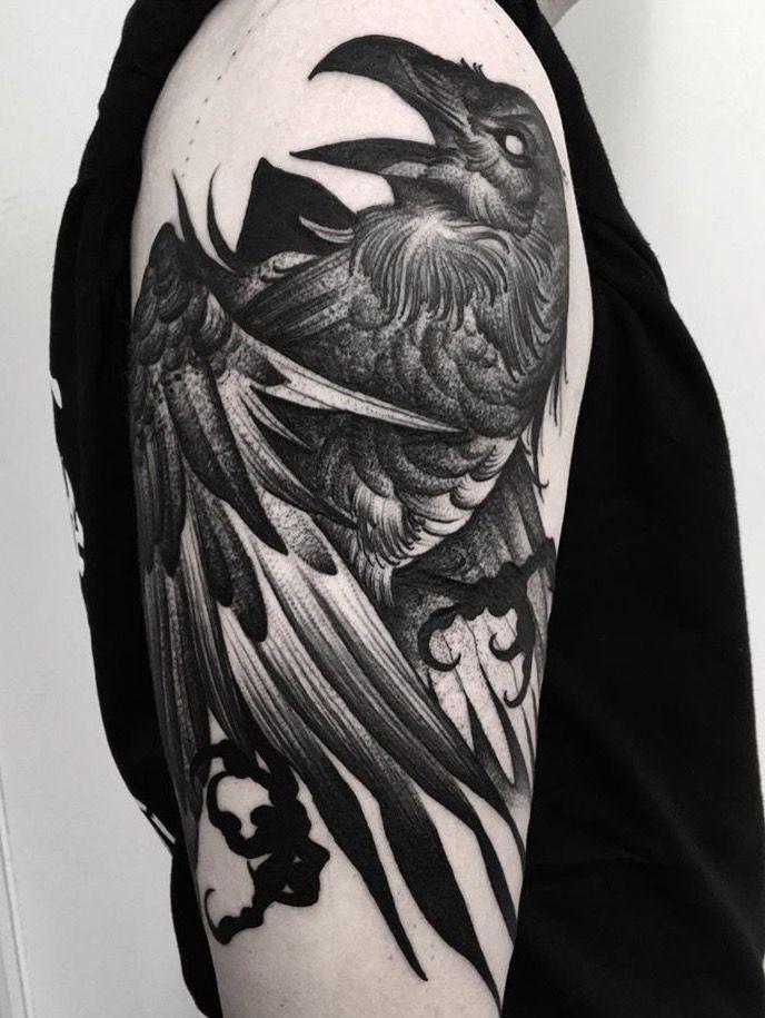 66cb8c7e9 Kelly Violence Raven tattoo | Animal Tattoos | Raven tattoo, Viking ...
