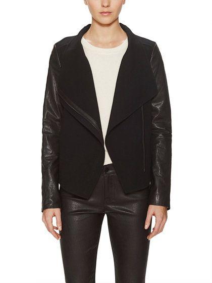 Leather Sleeved Wool Jacket