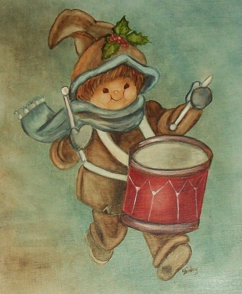 Little Drummer Boy Christmas Story Oil Painting Folk Art