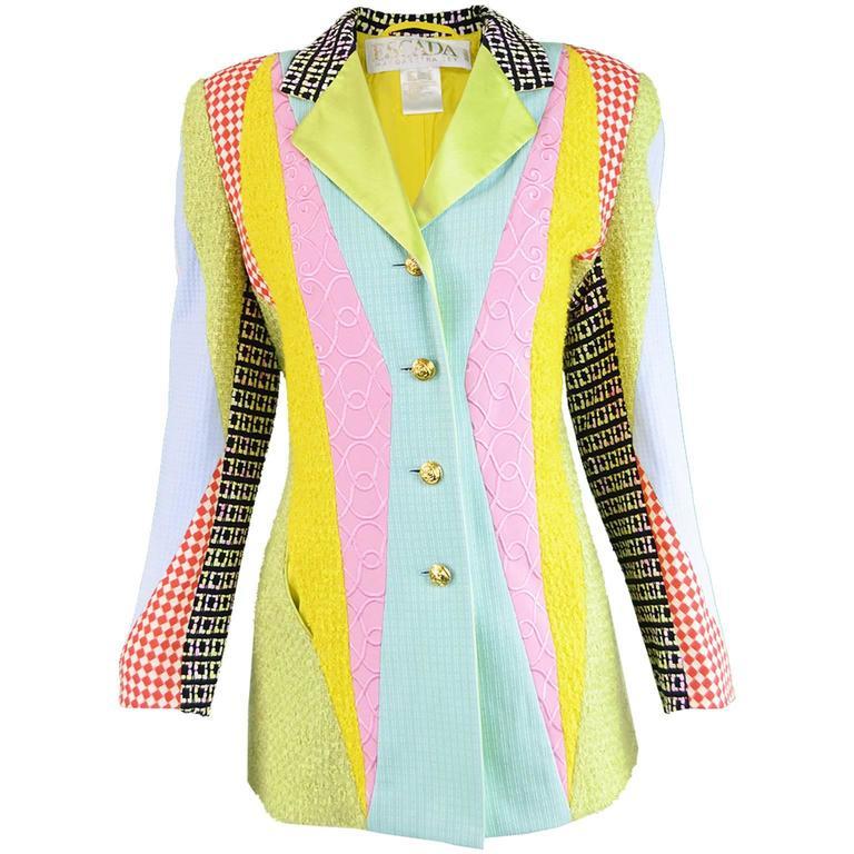 843ea8523ba Escada Vintage Wool Bouclé Satin & Embroidered Patchwork Blazer, 1980s