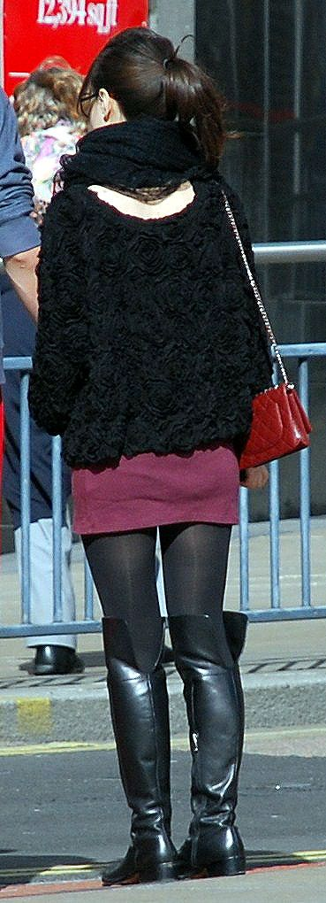 Candid amateur women in short skirts and flats