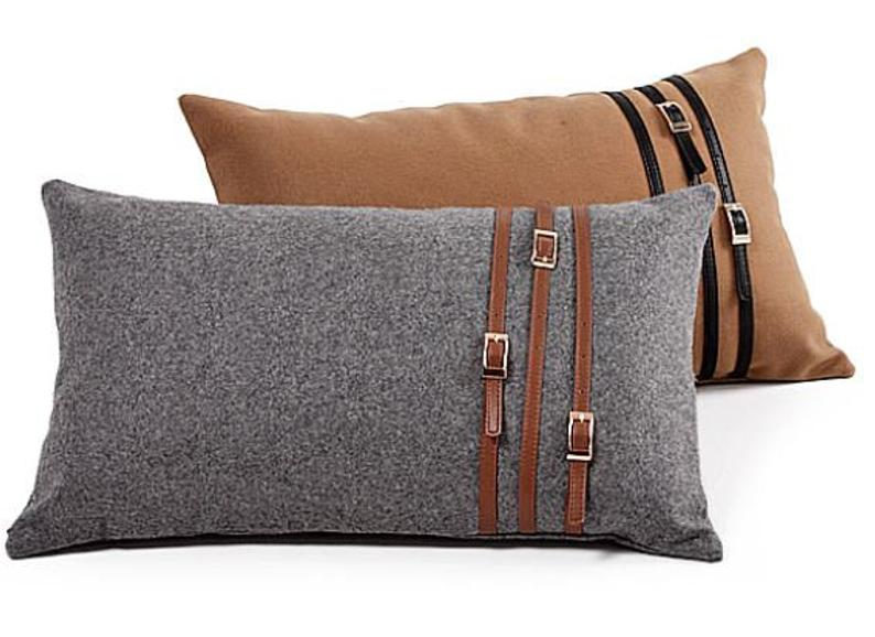 Luxury Designer Rectangular 30 X 50cm Cushion Cover Equestrian Buckle Horsebit Woven Tan Grey Brown Belt Design Cushions On Sofa Pillows Leather Pillow