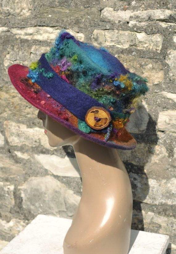Items similar to Handmade felt hat 'Evolution' MADE to ORDER - Hand dyed felted wool & curls - magical colorful rainbow ARtWeAR ethical fashion wearable art on Etsy #wearableart