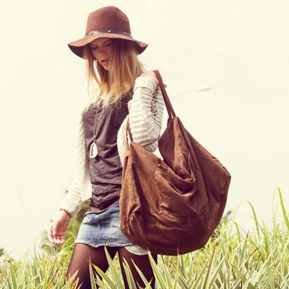 Large Soft Tote - Coffee Brown