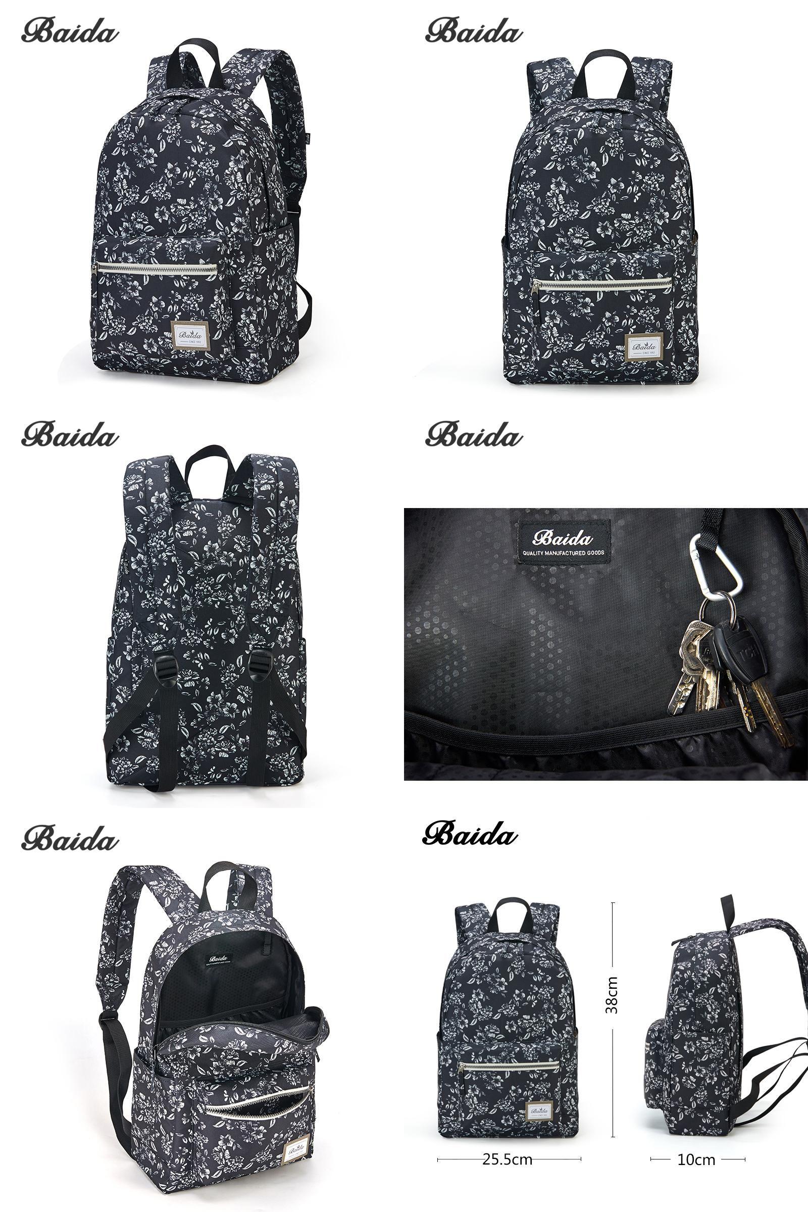 32ed4c7675d4  Visit to Buy  BAIDA Fashionable Black Floral Print Backpack Flower Pattern  Women Back Pack