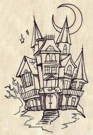 Halloween Spooky House Drawing.Spooky Haunted House Embroidered Flour Sack Hand Dish Towel