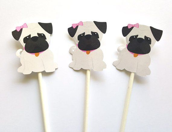 Girl Pug Birthday Party Favor Tags Puppy Pug Pug Dog Decorations