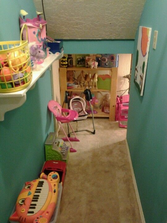 Under the stairs closet playroom home pinterest Closet toy storage ideas