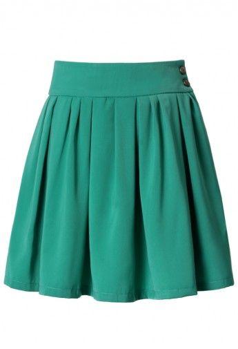 High Waisted Pleated Skater Skirt