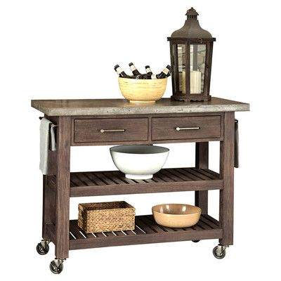 Home Styles Concrete Chic Kitchen Cart With Concrete Top  Stone Brilliant Rustic Kitchen Cart Design Inspiration