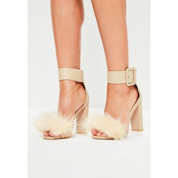 4210590508b Missguided Nude Faux Fur Vamp Block Heel Sandals ( 72) ❤ liked on Polyvore  featuring shoes