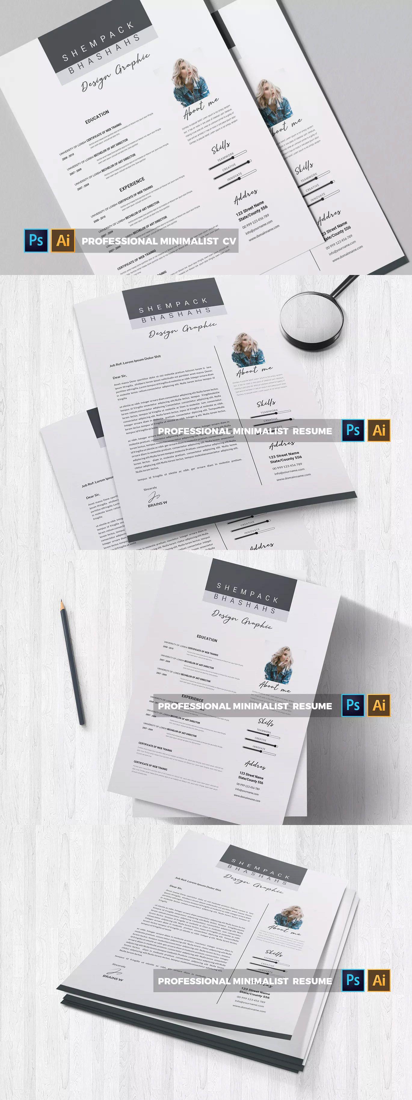 Professional Minimalist CV & Resume Template AI, EPS